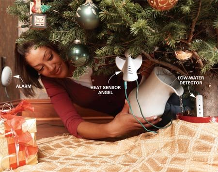 <b>Christmas tree safety system</b></br> This safety system includes a low water sensor and a heat sensor that'll alert you to potential trouble.