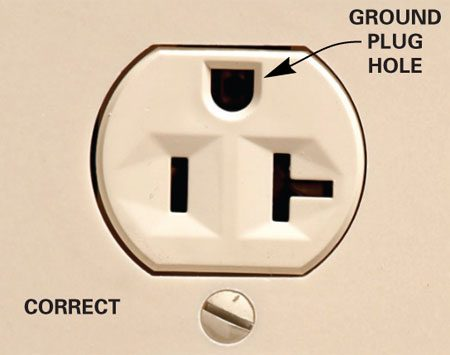 <b>Photo 1: Ground hole up</b></br> The electrical code allows outlets to be installed with the ground plug hole facing up, down or sideways. It's up to you.