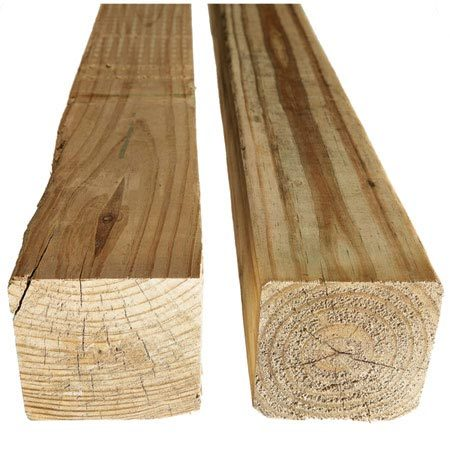 <b>Growth rings</b><br/>Centered growth rings indicate the post is made from peeler core and won't accept pressure treatment well (right), while off-center rings mean the post is not the log's center (left).