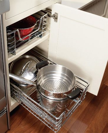 <b>Installed rollout</b></br> <p>Rollouts turn wasted space deep inside cabinets into accessible storage space.</p>  <p>Photo by Ramon Moreno</p>