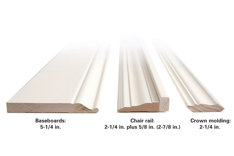 Base trim, chair rail and crown size comparison