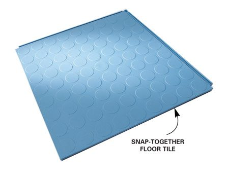 <b>Close-up of floor tile</b><br/>Bright, resilient floor tiles snap together for easy installation.