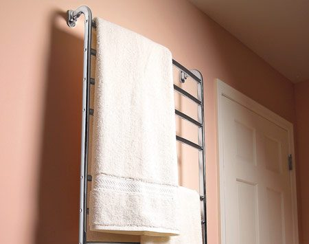 <b>Towel warmer</b></br> A plug-in electric towel warmer installs in minutes.