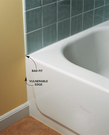 <b>Don't stop at the tub's edge</b></br> Don't stop tile even with the end of the tub.