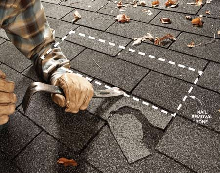 <b>Photo 1: Pry gently to break shingle free</b></br> Gently tap a flat bar under the shingles to break the seal-down strips free. Don't force it—shingles rip easily.