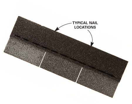 <b>Strip out photo of single shingle showing nail locations</b></br> Find all eight nails in these typical locations.