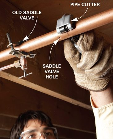 <b>Photo 1: Turn off the water and cut the water line</b></br> Unscrew the valve and slide it aside. Cut the water line to make room for a new tee fitting.