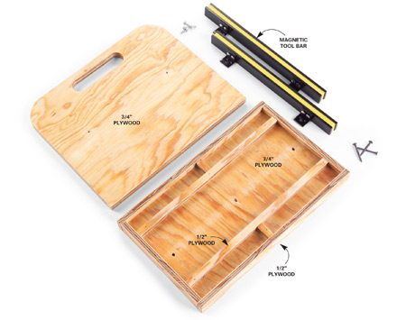<b>Top view</b></br> Use plywood to make the tote, with small strips for dividers.