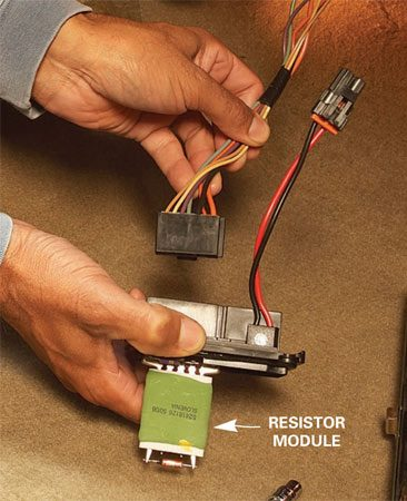 <b>Resistor module replacement</b></br> Remove the electrical connector, retaining screws and the old resistor module. Swap in the new part and reinstall the screws and connector.