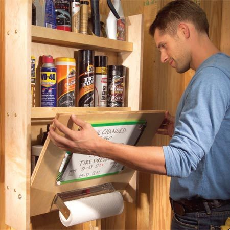 Storing and organizing car care products the family handyman - Modern garage storage systems for clean view ...