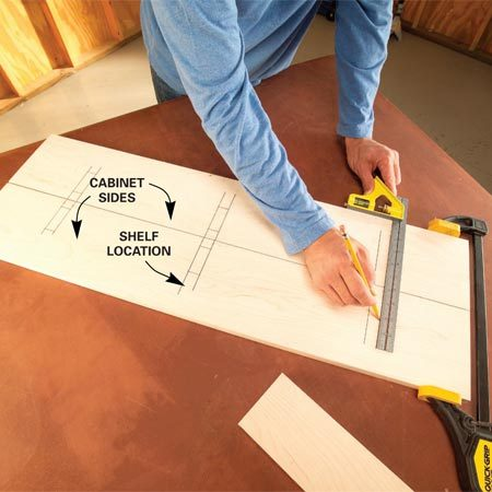 <b>Photo 1: Lay out the shelves</b></br> Prevent mistakes by marking shelf locations on both cabinet sides at once. Then mark the screw locations and drill pilot holes.