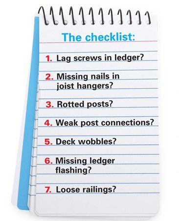 <b>Deck problem checklist</b></br> It takes only a few minutes to check your deck for these problems. Fixes are usually easy.