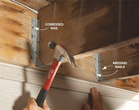 <b>Drive joist hanger nails</b></br> Fill every nail hole in joist hangers, using joist hanger nails only. If you find other types of nails, replace them with joist hanger nails.