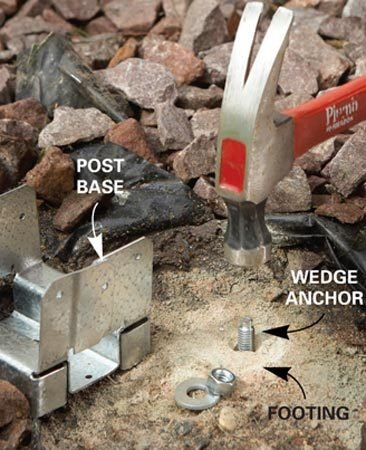 <b>Photo 2: Install an anchor and base</b></br> Tap a wedge anchor into a predrilled hole in the footing, then tighten the post base over it.