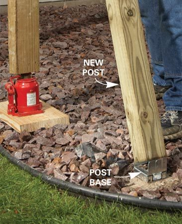 <b>Photo 3: Install the new post</b></br> Set the new post into place and nail it to the base. Plumb the post and fasten it to the rim joist or beam.