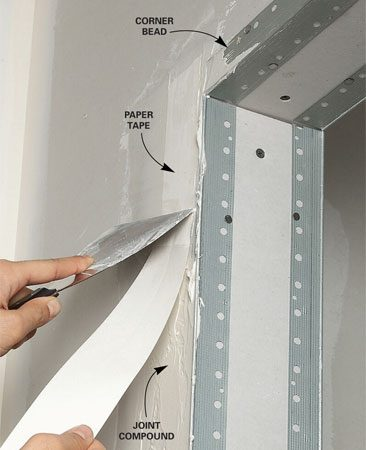 <b>Taping a metal corner</b></br> Taping the metal corner helps to prevent cracks.