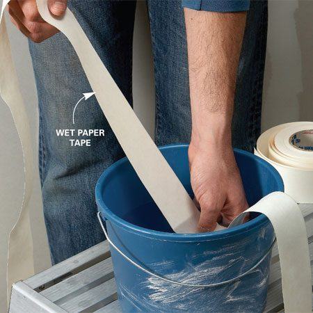 <b>Wetting tape</b></br> Dampen, but don't soak, the tape in a bucket of water.