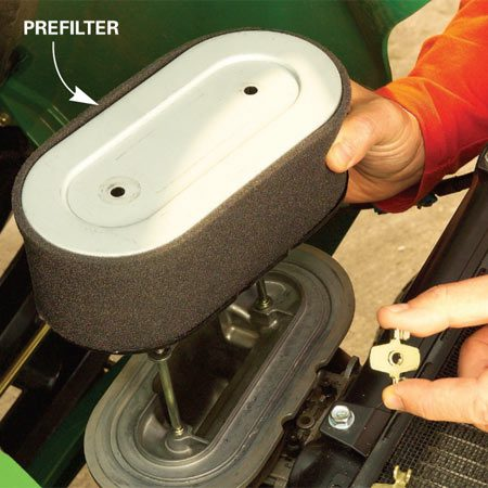 <b>Clean the filters</b></br> Wash the foam prefilter and blow off the filter at least once a month during the dusty mowing season.