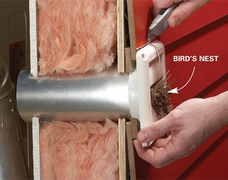 <b>Photo 1: Disconnect the old cap</b></br> Cut the old caulk with a utility knife and pull out the vent from the outside.
