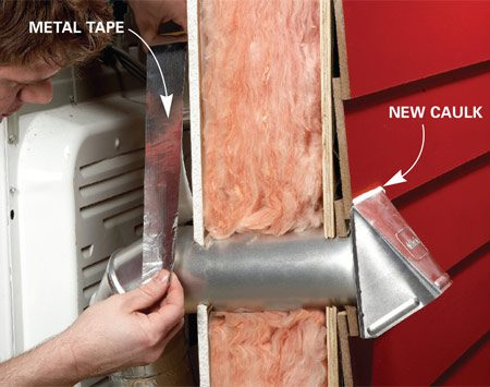<b>Photo 2: Install the new cap</b></br> Insert the duct from the dryer into the new vent duct and wrap the joint with metal tape.