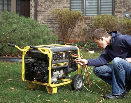 <b>A portable generator</b></br> A portable generator with extension cords is the simplest and least expensive backup power system. Keep the generator at least 10 ft. from your house to avoid carbon monoxide poisoning.