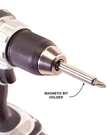 <b>Bit mounted in holder</b></br> A bit mounted in a magnetic bit holder is easier to change and holds screws better.