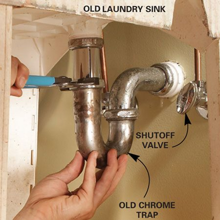 <b>Photo 1: Disconnect the old sink</b></br> Disconnect the plumbing and remove the screws that hold the sink to the wall.