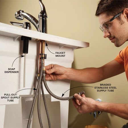 <b>Photo 3: Connect the supply lines</b></br> Mount the faucet and soap dispenser to the laundry sink according to the instructions with the faucet. Connect the braided supply tubes to the faucet.