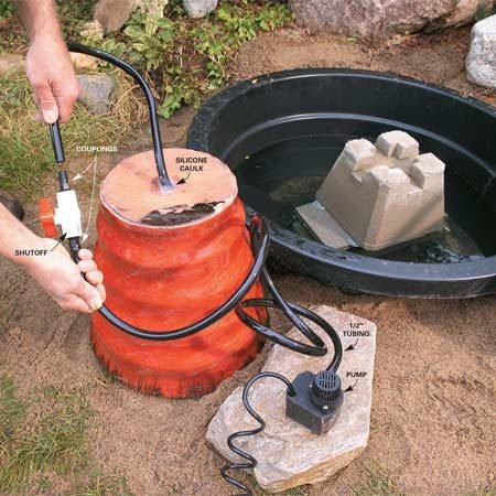<b>Photo 3: Install the pump</b></br> Run black tubing from the pump to the pot. Add a shutoff valve to keep water in the pot when the pump is off.