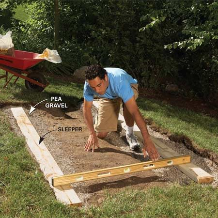 <b>Photo 1: Level the sleepers</b></br> Lay sleepers over gravel to create a flat foundation fast. Add or remove gravel until the sleepers are level.