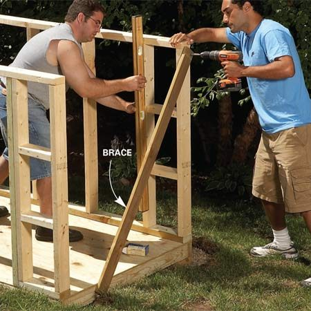 <b>Photo 3: Erect the walls</b></br> Build the walls and screw them to the floor. Attach temporary bracing to hold the walls plumb.