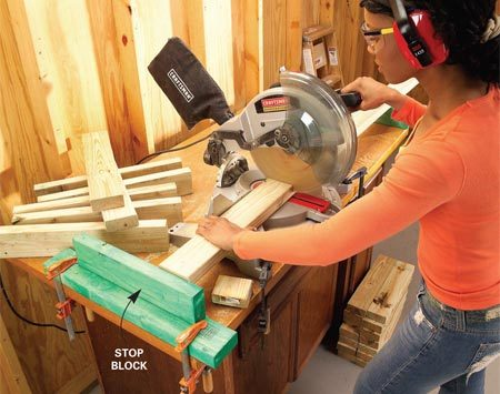 <b>Photo 1: Cut the parts</b></br> Cut the planter box pieces and bench parts quickly and accurately using a stop block.