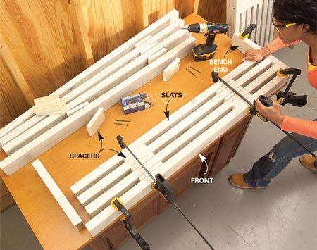 <b>Photo 5: Assemble the benches </b></br> Clamp the bench front and bench end against a square corner. Screw the bench pieces together from the back to keep fasteners hidden.
