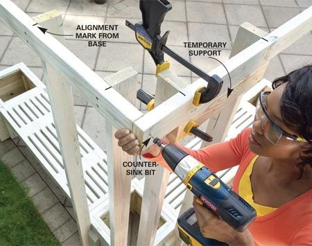 <b>Photo 9: Attach the top rails</b></br> Screw the right and left top rails to the posts. Mark the post spacing first to keep the posts plumb.