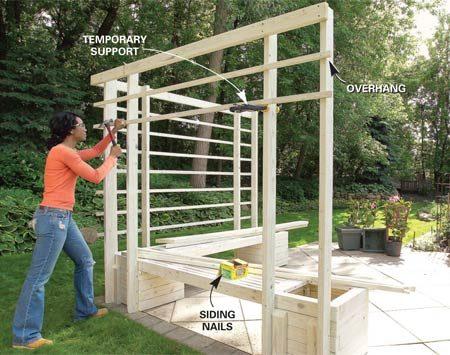 <b>Photo 10: Install the lattice</b></br> Mark the bottom edge of lattice on each post, then nail the lattice with siding nails.