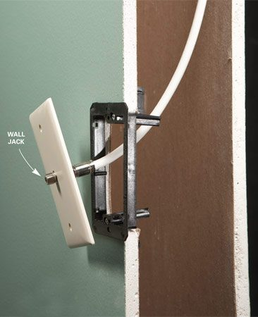 <b>Low-voltage boxes are best</b></br> Mount wall jacks on low-voltage boxes. Since they don't have backs or sides, these boxes allow cable to make a gentle bend inside the wall.