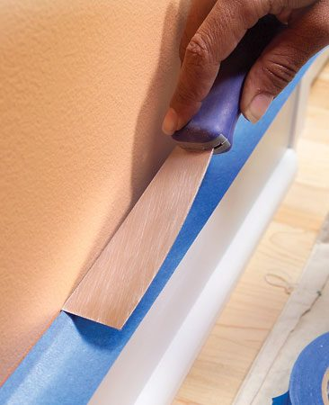 Avoid paint drips with masking tape