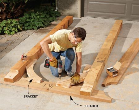 <b>Photo 4: Fasten the parts together</b></br> Screw through the posts and brackets into the header. That way, one header will have no visible screws. Screw through the second header into the posts.