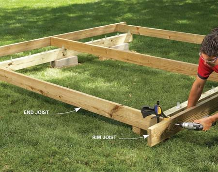 <b>Photo 4: Install the joists</b></br> Install the middle and end joists, then screw on the rim joists, using clamps (or a helper) to hold them in place.