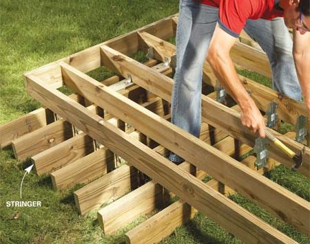 <b>Photo 6: Add steps</b></br> Frame the steps next. You can avoid additional footings by hanging stringers from the deck joists with metal angles or 2x4s.
