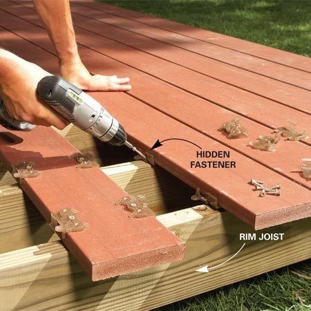 <b>Photo 7: Attach decking</b></br> Attach the deck boards. Decks look best when you use hidden fasteners, but they make installation slower. Trim the deck boards flush with the rim joist when you're done.