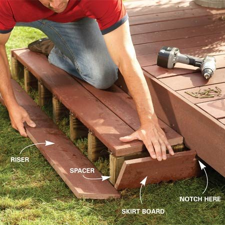 <b>Photo 9: Finish the steps</b></br> Screw skirt boards to the sides of the steps for a finished look, then measure, cut and attach a riser board to the face of the steps.