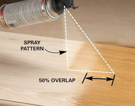 <b>Avoid buildup</b></br> To get even coverage, overlap the spray about halfway onto the previously sprayed section. If you just overlap the edges, you'll get a narrow band of thicker finish where the two strips meet. Overlapping at least 50 percent solves this problem—you'll apply about the same amount of finish everywhere.