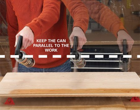 <b>Build even coats</b></br> Focus on keeping the spray tip an equal distance from the surface as you move it along. At the same time, keep the can moving at a steady pace to get an even coat. The goal is to apply just enough finish to wet the surface without creating runs. Prevent runs by applying several thin coats rather than one or two thick coats. The finish may look blotchy after the first coat, but additional coats will produce a uniform finish.