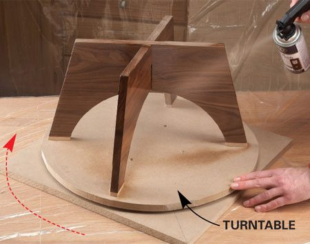 <b>Build a turntable</b></br> When you have a small project with many sides to spray, placing it on a turntable will speed up your job and make it easier to get good results. Instead of trying to move around the project as you spray, just give the turntable a little spin. You can build a turntable like this by mounting lazy Susan hardware to a scrap of particleboard or plywood, and then mounting a plywood or particleboard disc to the hardware. Lazy Susan hardware is available at hardware stores and home centers. Check the instructions before leaving the store so you can pick up any screws you'll need.