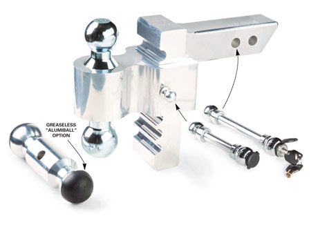 <b>Rapid Hitch parts and accessories</b></br> The adjustable height mount has several ball options, plus locking pin accessories.