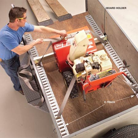 <b>E-Track tie down system</b></br> Center your cargo over the axle and secure it with ratchet straps. Place a wood beam in the sockets as extra insurance against cargo movement.