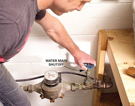 <b>Shut off the water</b></br> Shut off the water supply to your entire home when you leave for overnight or longer.
