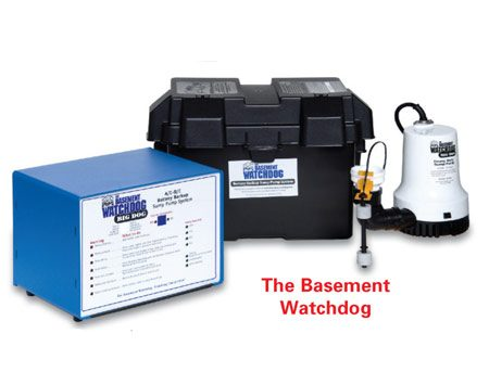 "<b>Backup sump battery</b></br> <p>Emergency backup battery systems for sump pumps keep pumps functioning during power failures. The systems provide a separate battery-driven sump pump and controller that works during power outages and sounds an alarm when sump maintenance is needed or a battery problem is detected. Models like the one shown are available at home centers. To shop online, type ""sump  pump battery backup"" into a search engine.</p>"