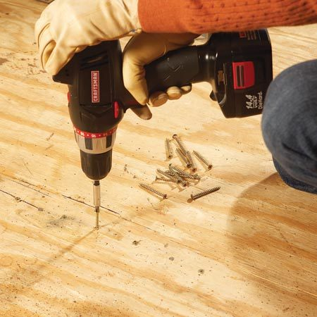 <b>Eliminate squeaks</b></br> Drive screws through loose flooring and into joists to stop squeaks.